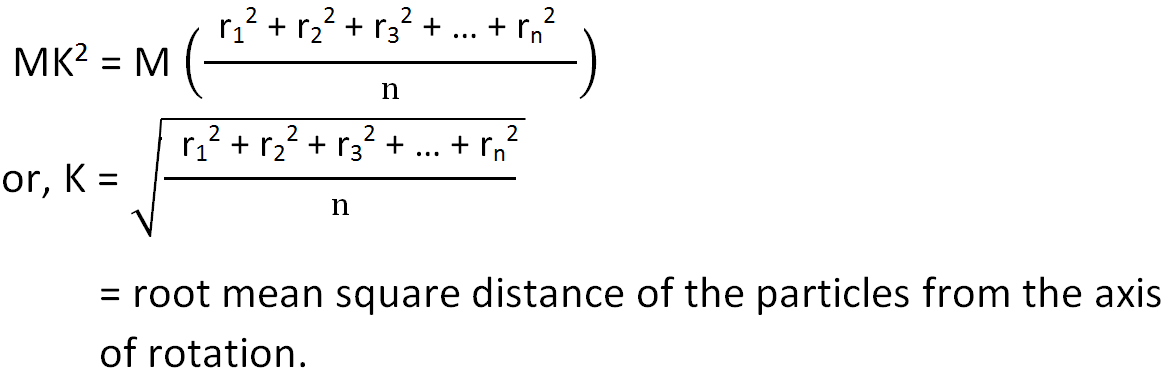 Radius of gyration is the root mean square distance of particles from axis formula